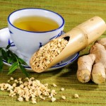 Ginger tea and dried ginger root